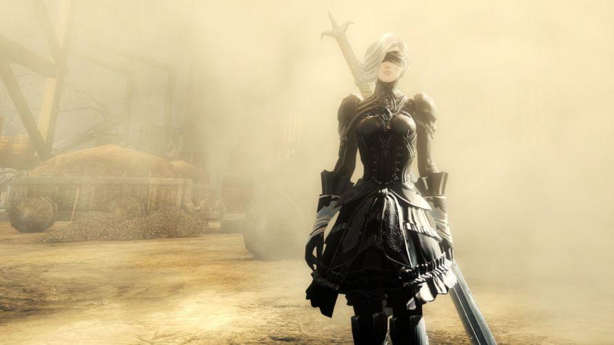 Game sensuality-sensual-sexy-woman-girl-art-Nier Automata-Yorha 2b-sword-dress-blindfold-desrt wallpaper