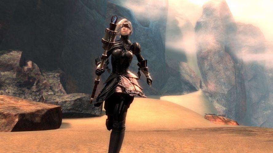 Game sensuality-sensual-sexy-woman-girl-art-Nier Automata-Yorha 2b-sword-dress-blindfold-running wallpaper