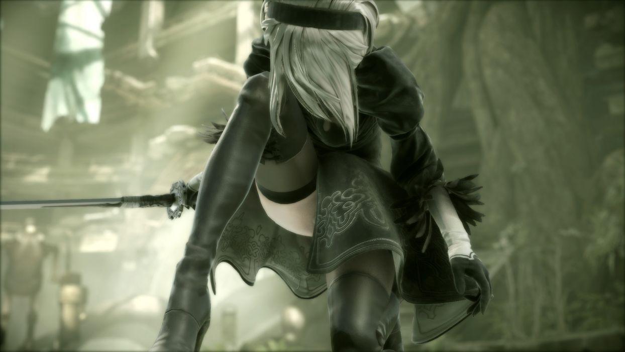 Game sensuality-sensual-sexy-woman-girl-art-Nier Automata-Yorha 2b-sword-dress-blindfold-combat wallpaper