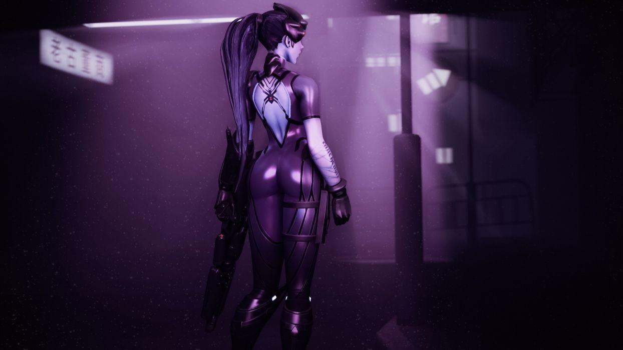 Game sensuality-sensual-sexy-woman-girl-art-widowmaker-overwatch-back wallpaper