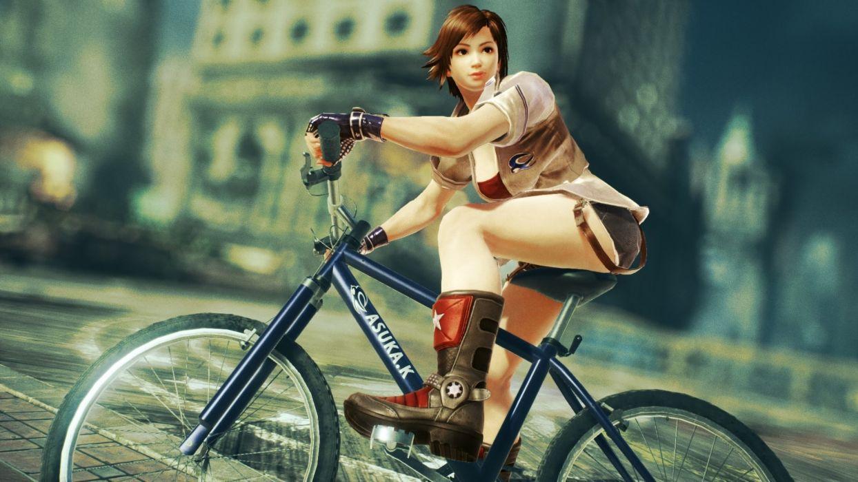 Game sensuality-sensual-sexy-woman-girl-art-tekken 7-Asuka Kazama-bicycle wallpaper