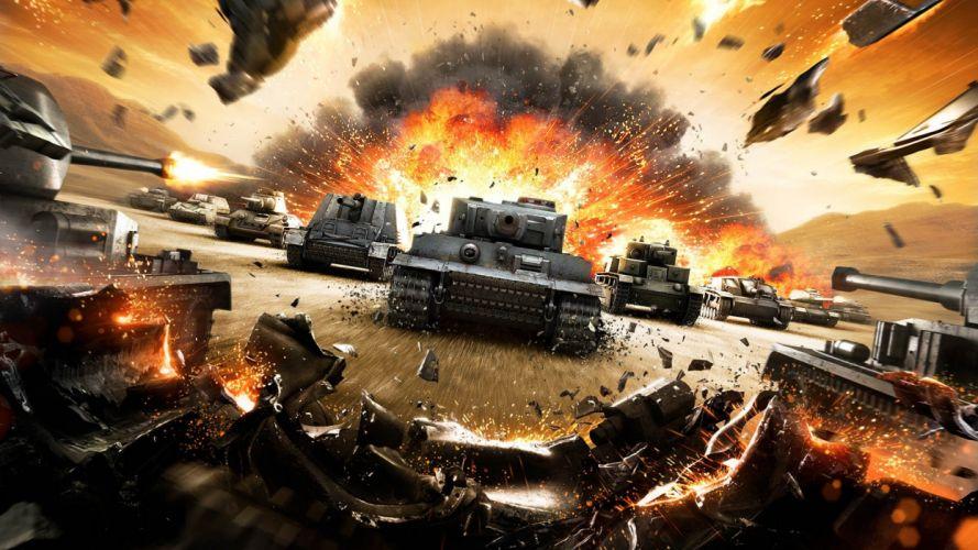 Game world-of-tanks-war-art-tank-explosion-shrapnel wallpaper