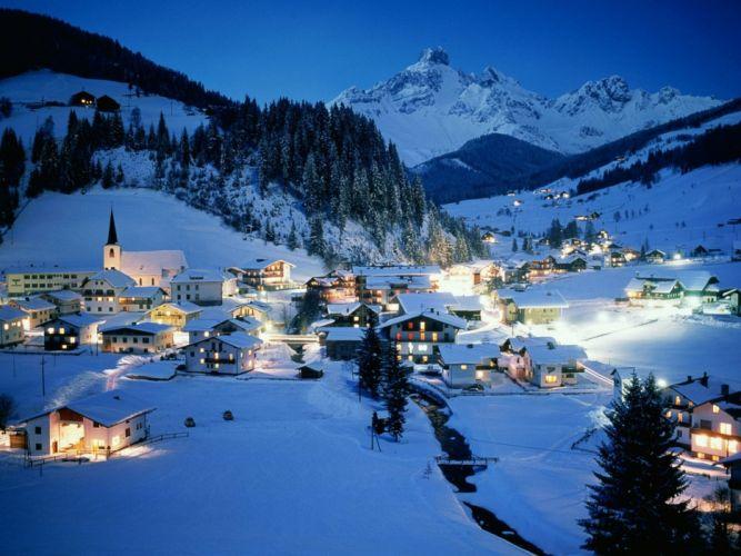 Austria pueblo invierno paisaje wallpaper