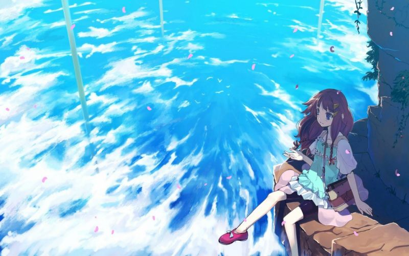 anime girl cute beautiful long hair blue wallpaper