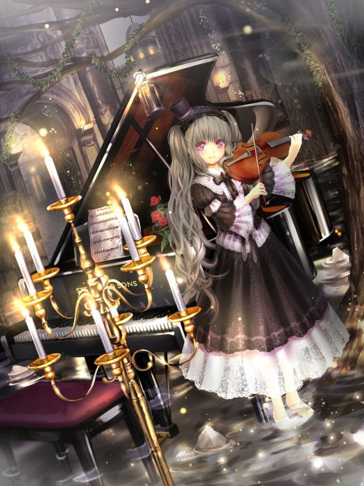 anime girl cute beautiful long hair violin music dress piano wallpaper