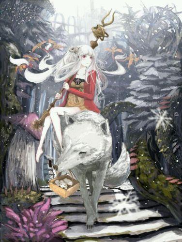anime girl white hair red eyes white wolf anime wolf wallpaper