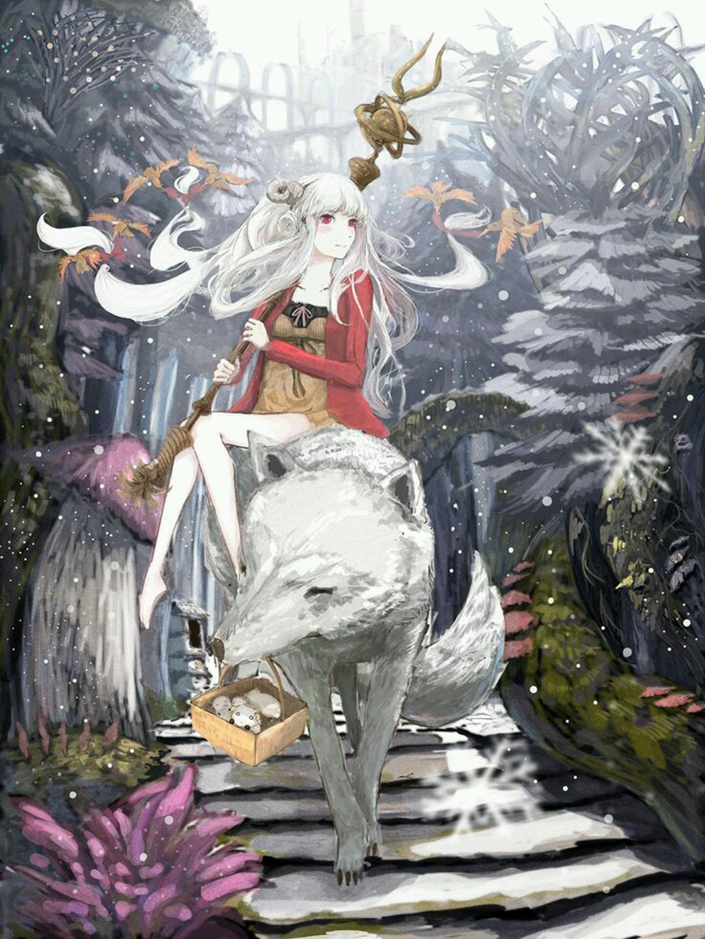 anime girl white hair red eyes white wolf anime wolf