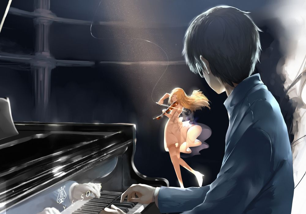 Anime Series Couple Piano Violin Blonde Girl Wallpaper 3500x2450 1089935 Wallpaperup