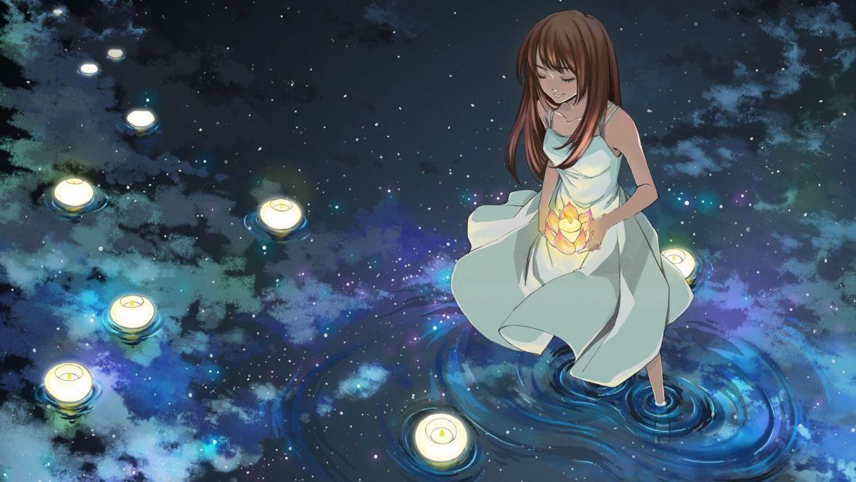 anime girl dress water wallpaper