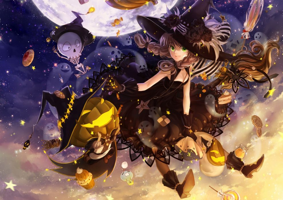 halloween anime girl sky wallpaper