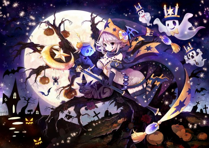 halloween anime girl sky moon wallpaper