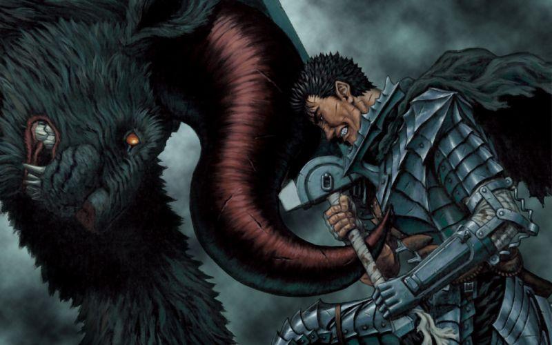 berserk gut battling a beast fantasy man monster wallpaper