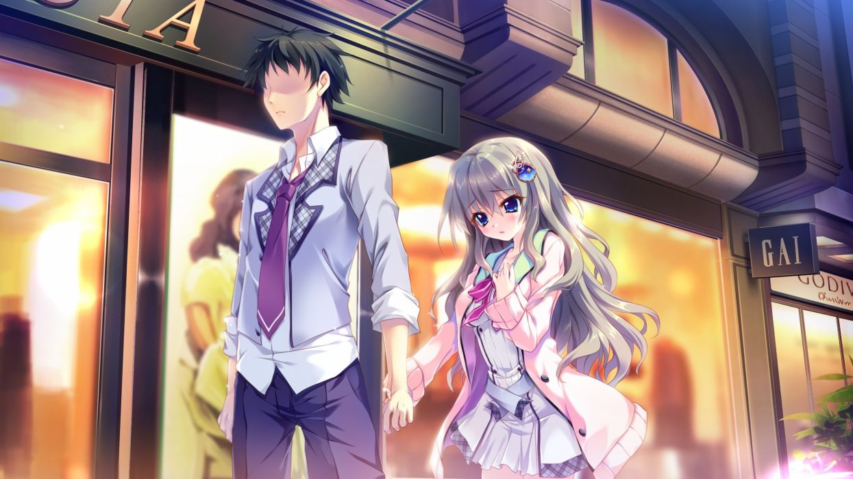 9 nine kujou miyako niimi kakeru couple romance visual novel shops wallpaper