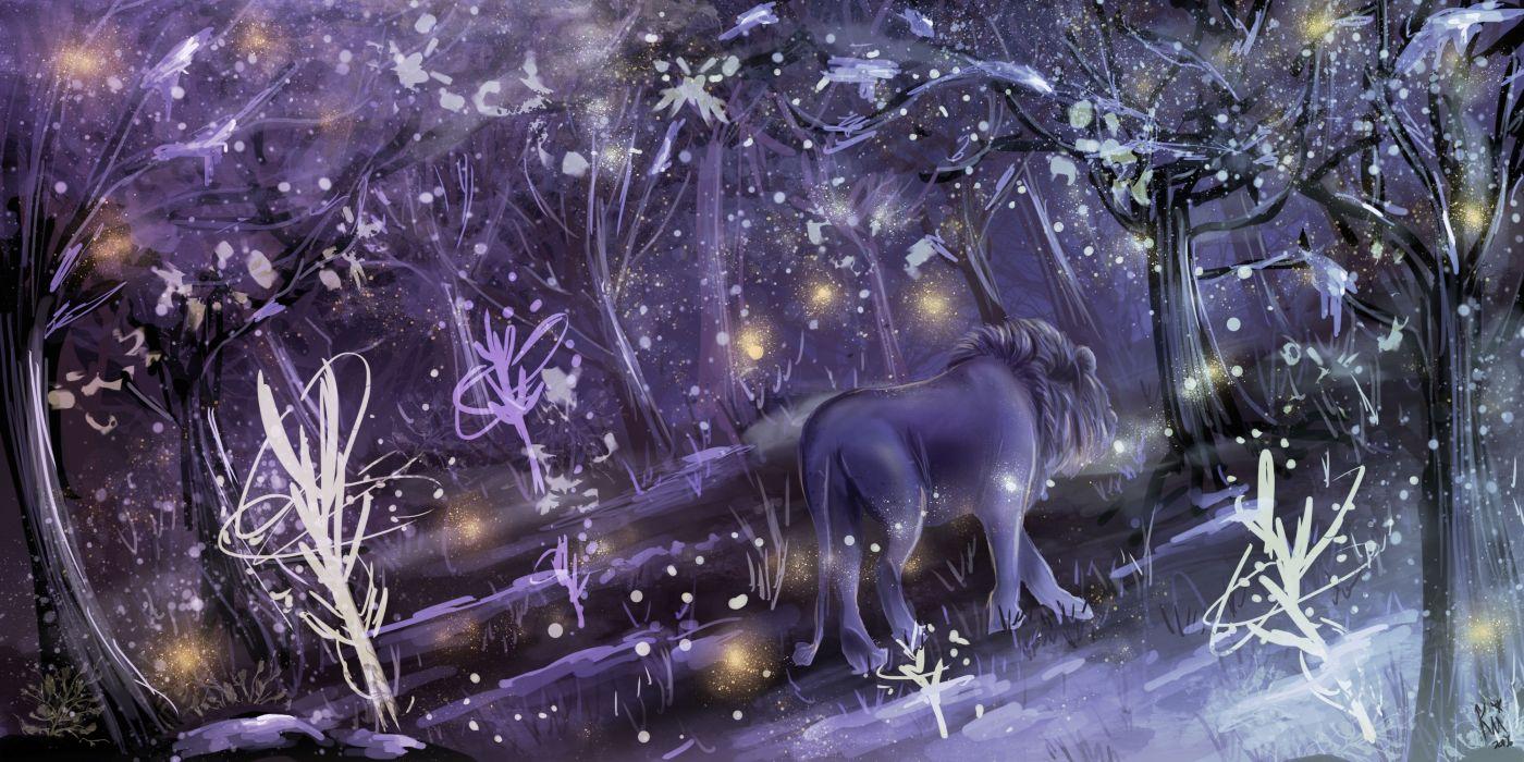 lion forest winter artwork wallpaper