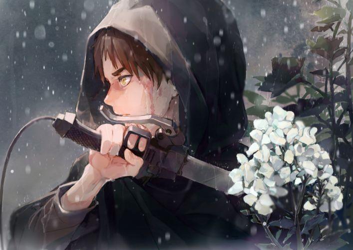eren jaeger shingeki no kyojin hoodie sword raining flowers attack on titan wallpaper