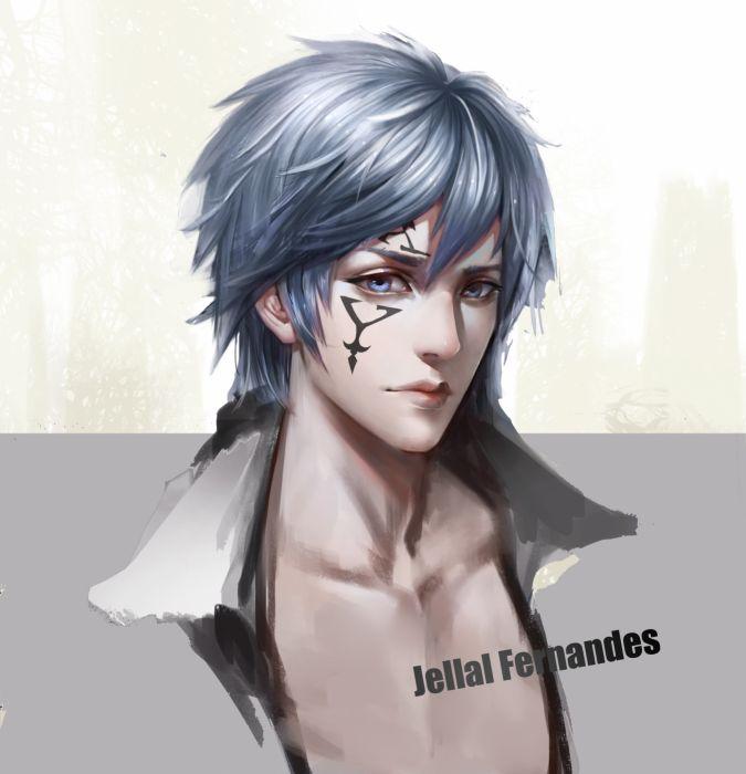 fairy tail jellal fernandes semi realistic shoujo face portrait blue hair wallpaper