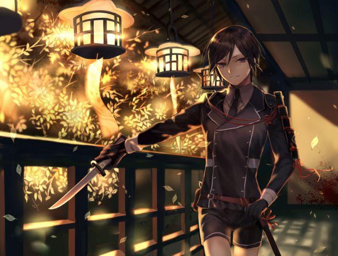 touken ranbu yagen toushirou knife shoujo uniform smiling lantern petals wallpaper