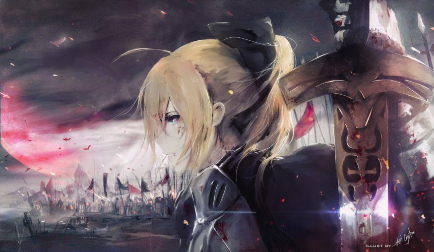 fate stay night saber profile view sword war blonde wallpaper