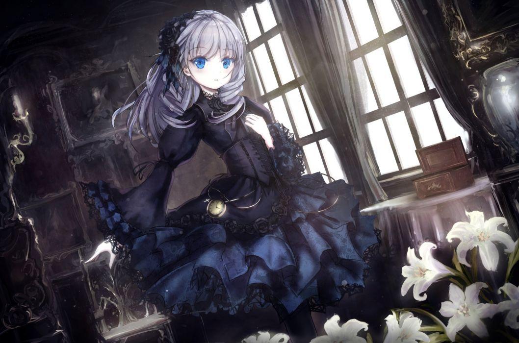 anime girl gothic loli white hair blue eyes flowers wallpaper