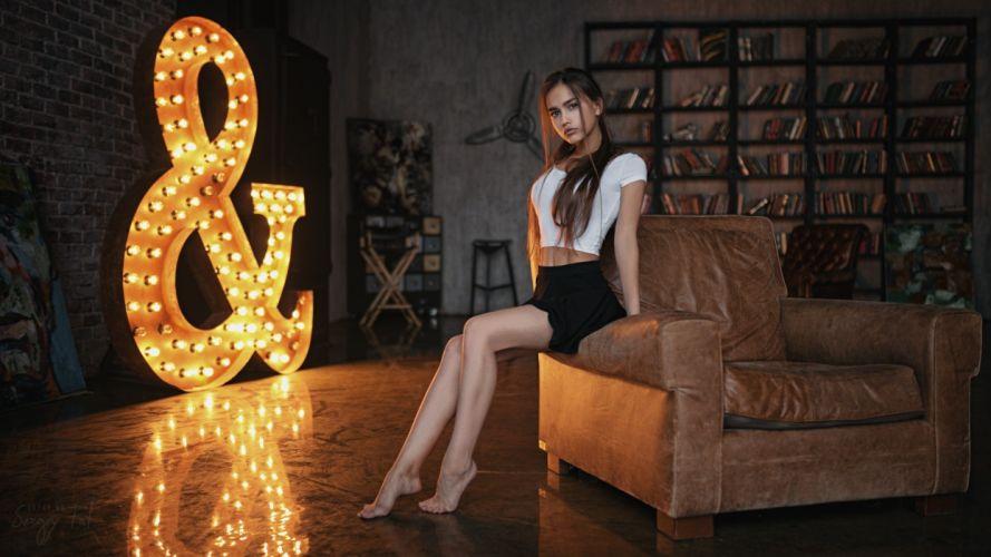 Sensuality-sensual-sexy-woman-girl-Anastasia Lis-model-looking-legs-short tops-skirt-barefoot wallpaper