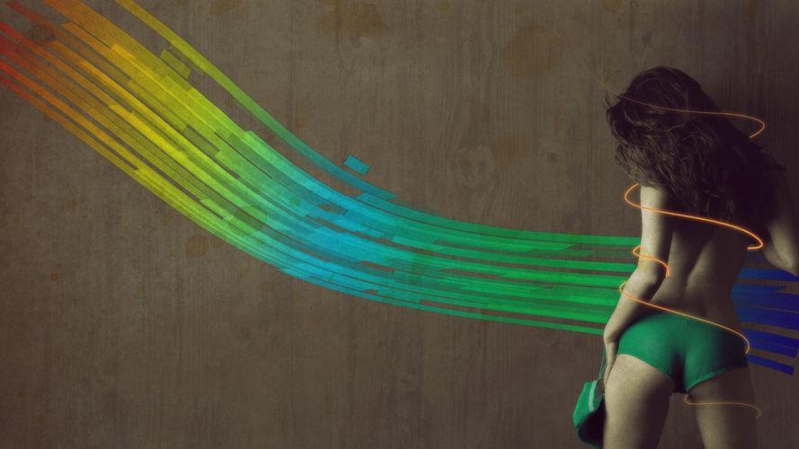 Sensuality-sensual-sexy-woman-girl-arts-painting-poster-colors-shadow-shorts-model wallpaper
