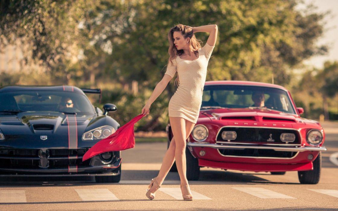 Sensuality-sensual-sexy-woman-girl-minidress-machine-car-Ford Mustang Shelby-Dodge Viper-Kristina Yakimova-legs-flag-race-model wallpaper