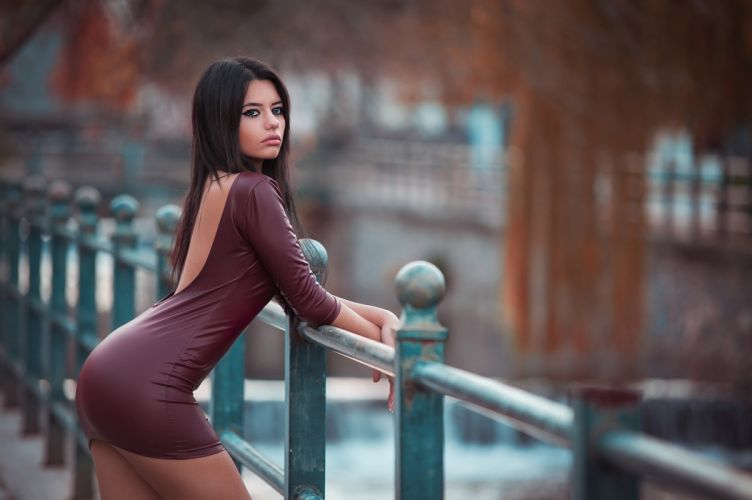 Sensuality-sensual-sexy-woman-girl-minidress-tight-leather-model-Marianna Bafiti-brunette-juicy lips wallpaper