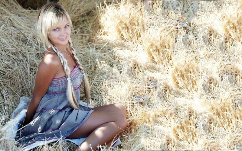 Sensuality-sensual-sexy-woman-girl-model-blonde-smiling-braids-sitting-dress-hay wallpaper