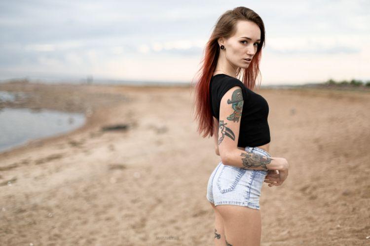 Sensuality-sensual-sexy-woman-girl-shorts-jeans-denim-Julia Tyki-portrait-pierced-skinny-tattoo-Tshirt wallpaper
