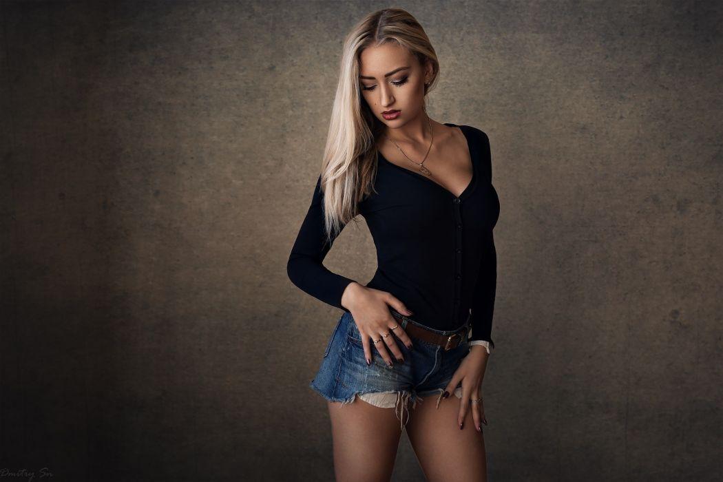Sensuality-sensual-sexy-woman-girl-shorts-jeans-denim-torn-blonde-portrait-posing wallpaper