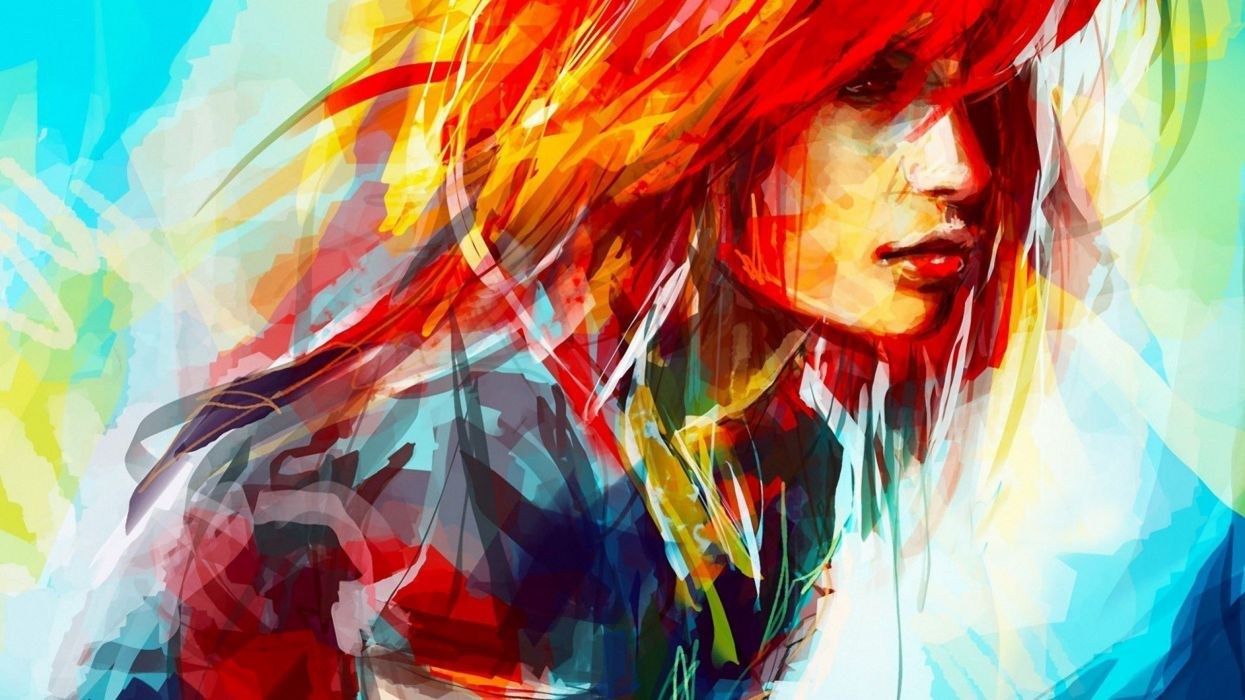 abstract girl arte mujer oleo wallpaper