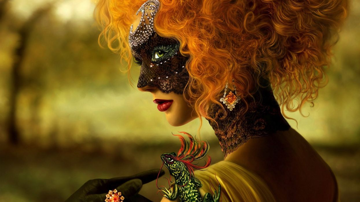 asbtracto mujer pelirroja mascara wallpaper