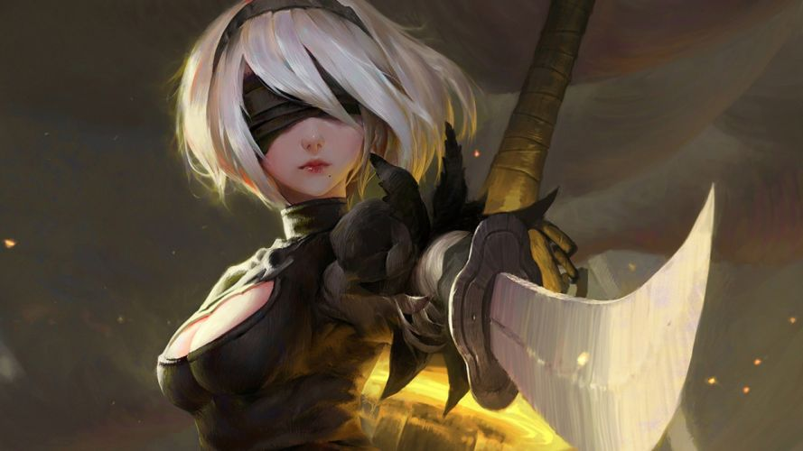 nier automata-yorha-2b-katana-game-girl-(1897) wallpaper
