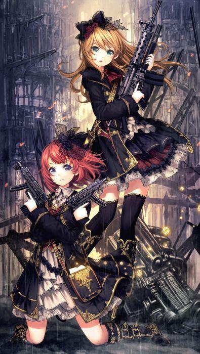 anime girls weapon dress cute wallpaper