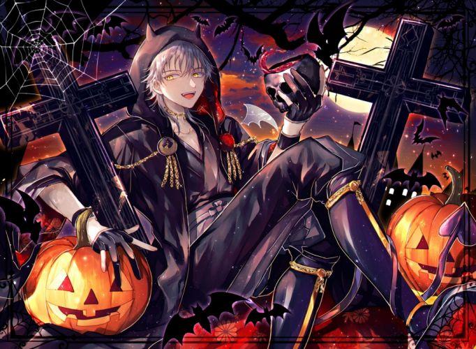 tsurumaru kuninaga touken ranbu shoujo smiling halloween pumpkins wallpaper