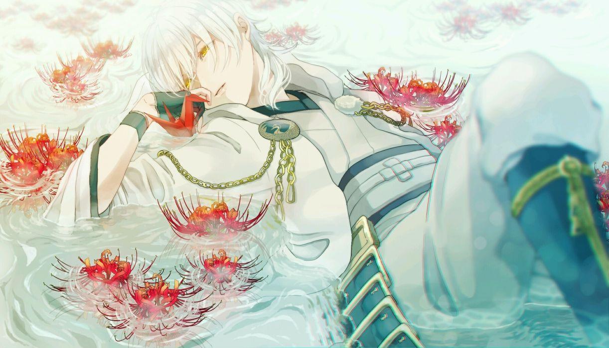 touken ranbu tsurumaru kuninaga shoujo white hair lying down wallpaper