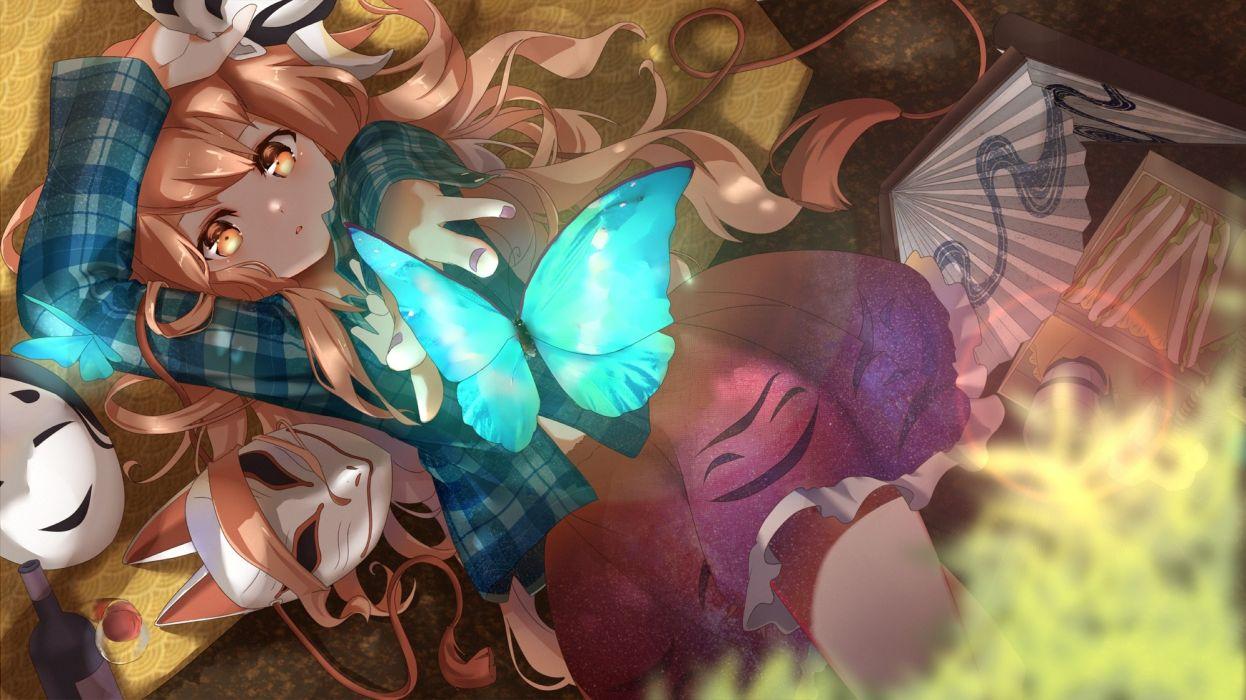hata no kokoro touhou lying down blonde butterfly masks wallpaper