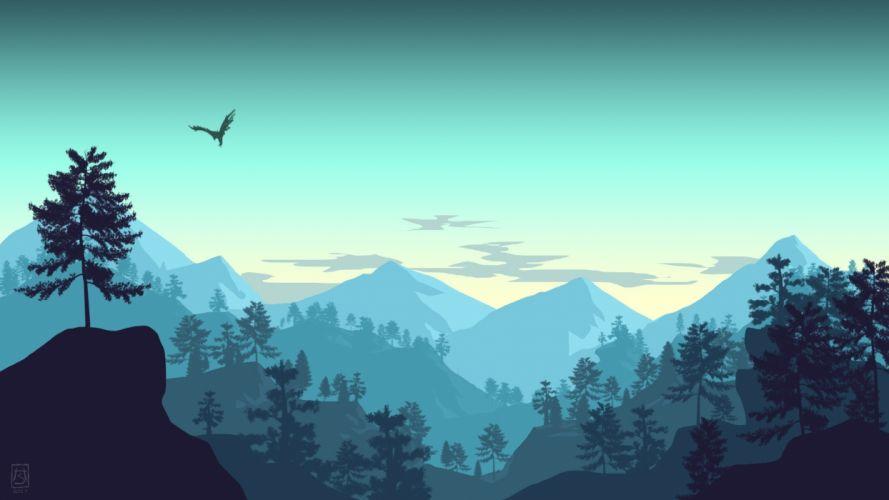 minimalistic landscape mountains forest bird sky artwork wallpaper
