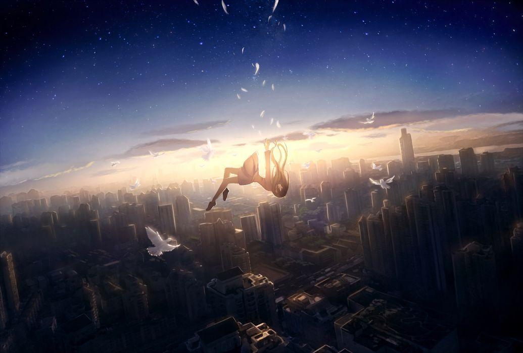 anime girl falling down cityscape bird feathers wallpaper