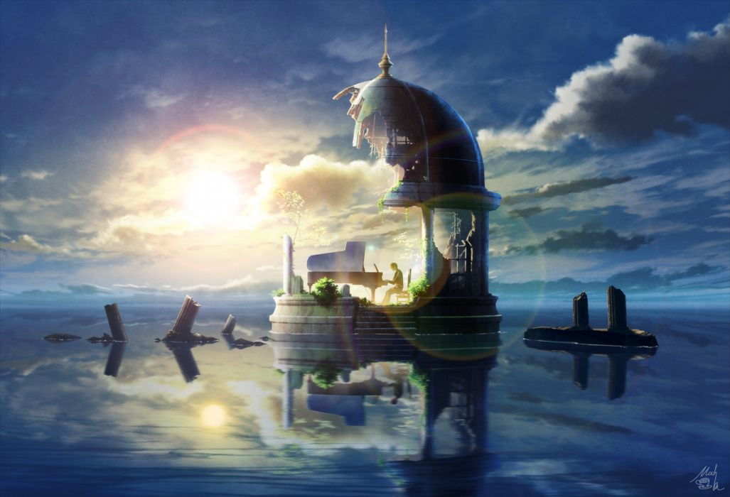 Anime Boy Playing Piano Clouds Lens Flare Instrument Wallpaper 2200x1500 1090316 Wallpaperup