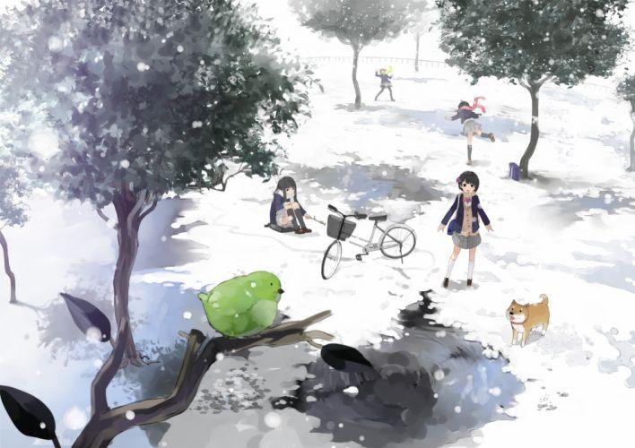 anime girls snow dog bird playing friends winter school girls wallpaper