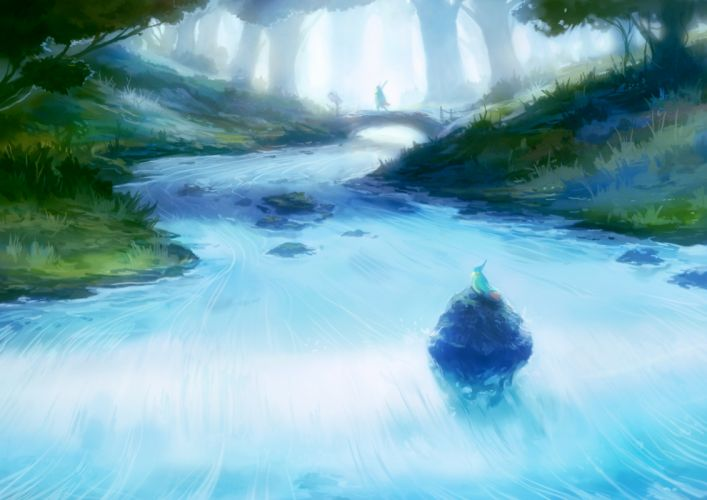forest river bird painting scenic wallpaper