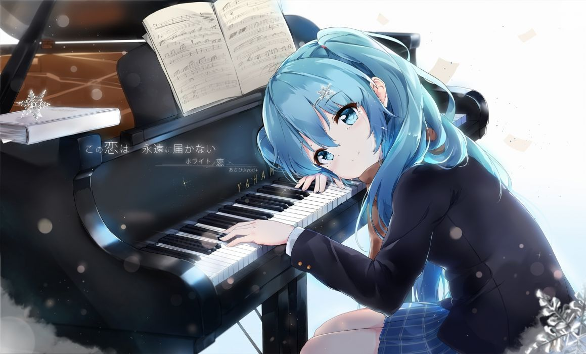 hatsune miku piano instrument smiling moe vocaloid music wallpaper