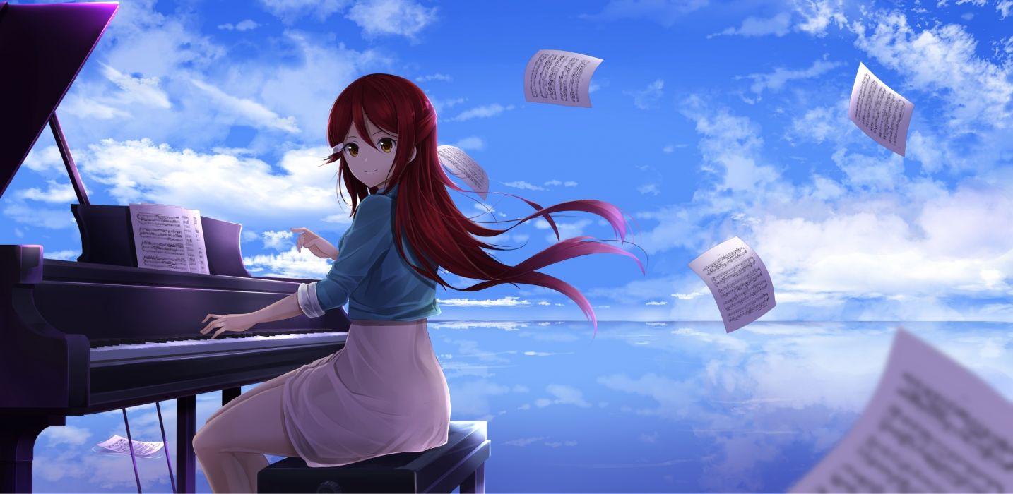 love live sakurauchi riko piano redhead windy instrument sky clouds wallpaper