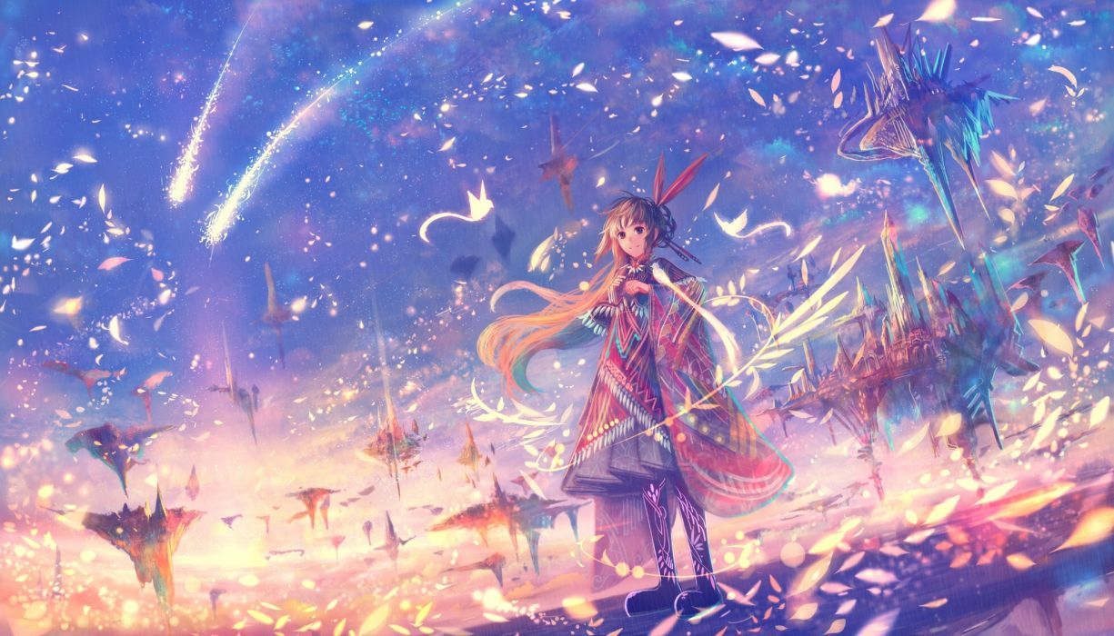 anime girl fantasy world petals floating island wallpaper