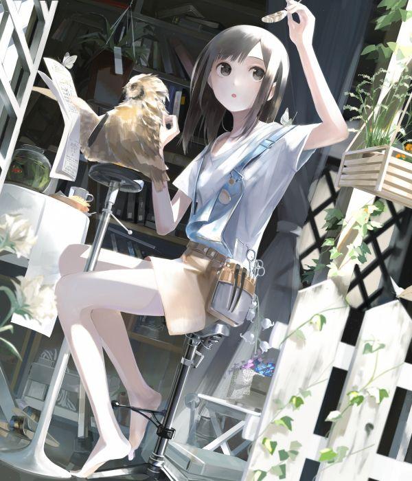 anime girl bird feather artwork sitting skinny wallpaper