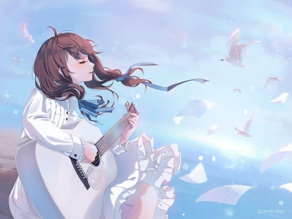 anime girl guitar instrument birds white dress singing windy brown hair wallpaper