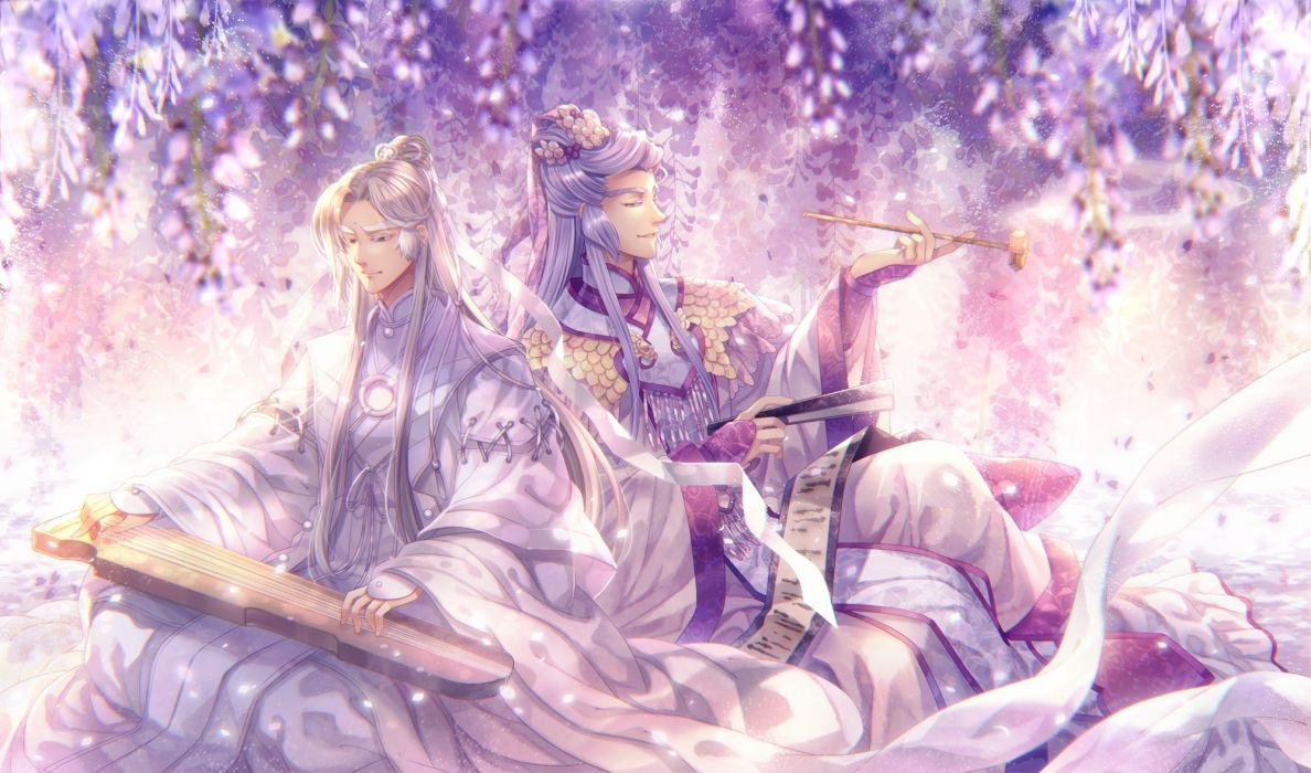 anime boys shoujo traditional chinese clothes instrument wallpaper