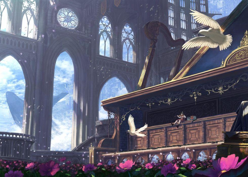 anime girl playing violin bird fantasy world instrument flowers wallpaper
