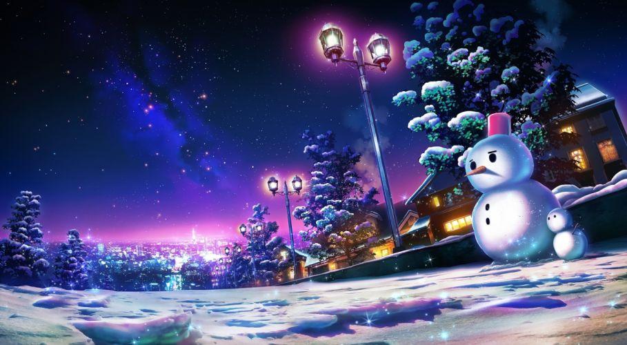 anime landscape snowman cityscape night scenic houses wallpaper